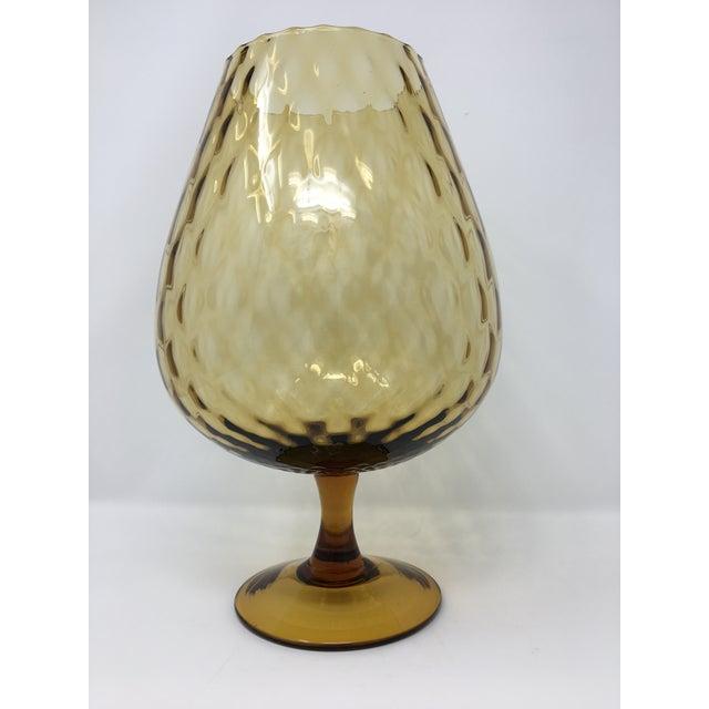 Midcentury Modern Empoli Style Amber Optic Glass Vase For Sale - Image 9 of 9