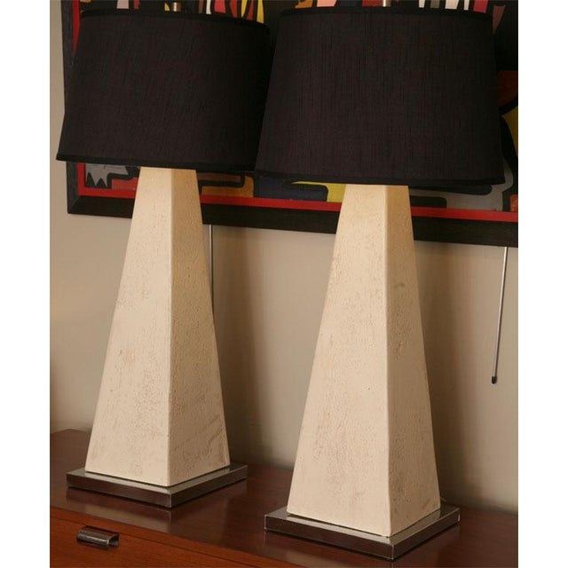 Stunning scale and beauty with these architectural gems. Mid century modern tall obelisk forms of textured gesso & plaster...
