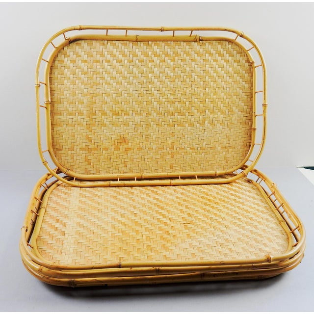 Set of 4 bamboo woven trays with bamboo gallery, solid wood bottom.