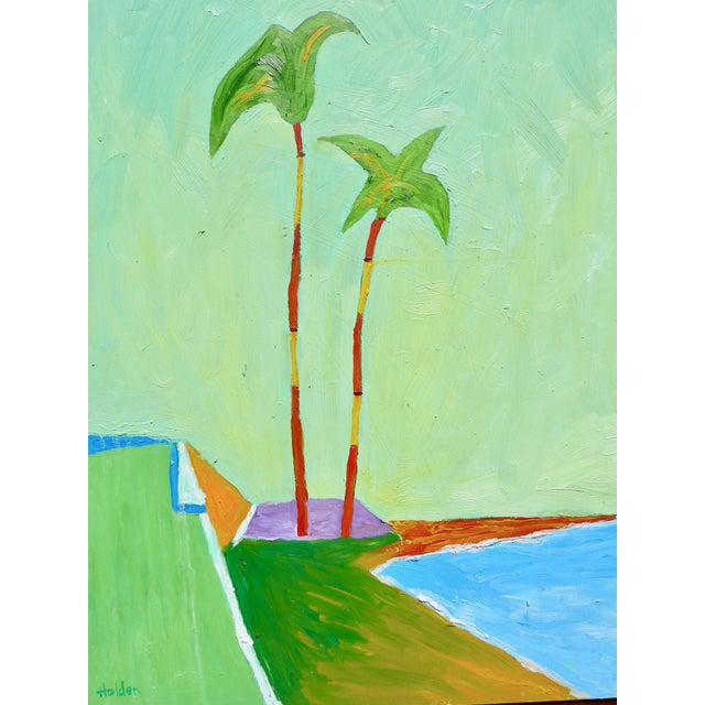Contemporary plein air oil painting of two palm trees in the breeze on a California beach. Soft glowing colors are very...