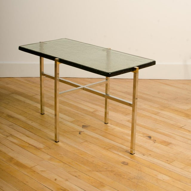 Metal Italian Mid-Century Smoky Glass Top End Tables - a Pair For Sale - Image 7 of 13