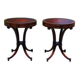 Vintage Weiman Federal Regency Flame Mahogany Round Drum Leather Top Tables-A Pair For Sale
