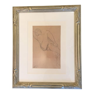 Vintage Mid-Century Rodin French Nude Woman Framed Print For Sale