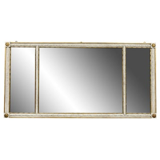 Neoclassic Style Crème Painted and Giltwood Overmantle Mirror For Sale