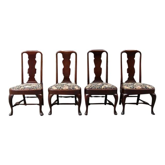 Set of Four 19th Century English Queen Anne Mahogany Splat Back Dining Chairs - Image 1 of 10