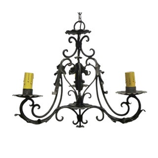Vintage Petite 3 Arm Wrought Iron Chandelier With Leaf Details For Sale