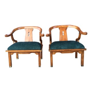 Velvet Mont Style Asian Armchairs - A Pair