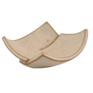 Cream Glazed Hand-Formed Slab Pottery Bowl Signed Burke For Sale
