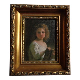 Late 19th Century Antique Portrait of Little Girl Oil Painting For Sale