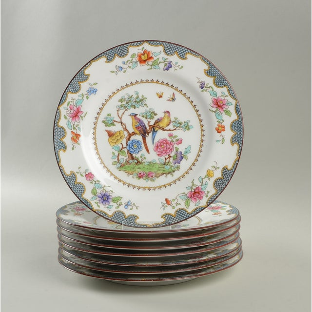 Ceramic Vintage Spode Brompton Blue Luncheon Plate - Set of 8 - Set of 8 For Sale - Image 7 of 7
