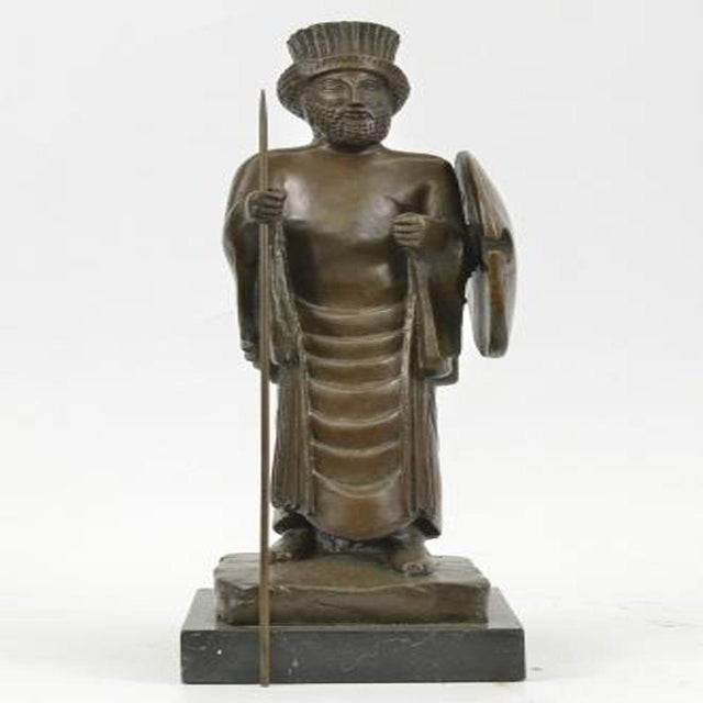 Cyrus the Great Persian King Kanaev Bronze Sculpture Marble Base Statue For Sale - Image 9 of 9