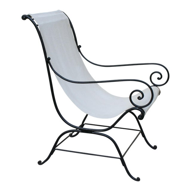 Vintage French Wrought Iron Sling Chair For Sale