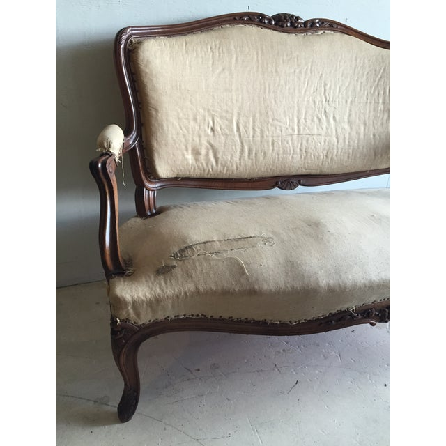 Antique Louis XV Carved Walnut Settee Loveseat - Image 3 of 11