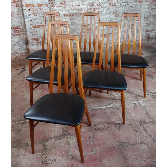 Brown Danish Mid-Century Teak Dining Table W/6 Chairs by Koefoeds Hornslet For Sale - Image 8 of 12
