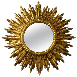 Gold Leaf Gilded Wood Sunburst Mirror, France Circa 1920 For Sale