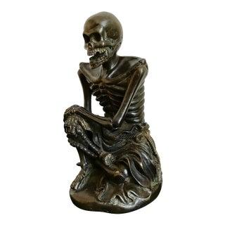 Japanese Bronze Skeleton in Monks Robes For Sale