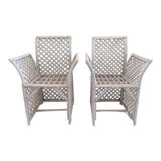 Vintage Rattan Hollywood Regency Arm Chairs - a Pair