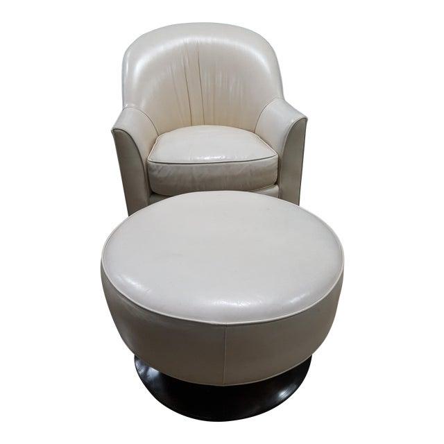 Swaim Leather Swivel Chair & Ottoman For Sale