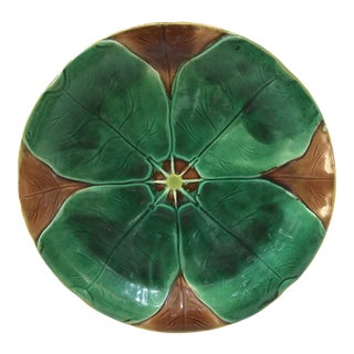 19th Century Majolica Water Lily Plate Joseph Holcroft For Sale