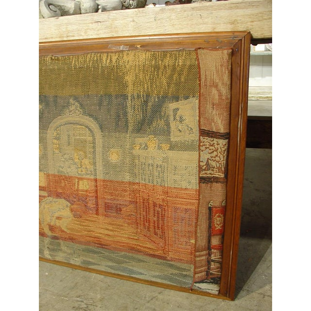 A Long Oak Framed French Tapestry Depicting an Interior Scene, Circa1900 For Sale - Image 5 of 10