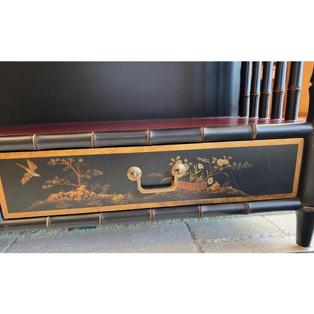 Black Chinoiserie Mario Buatta Widdicomb Waterfall Bookcase For Sale - Image 8 of 12