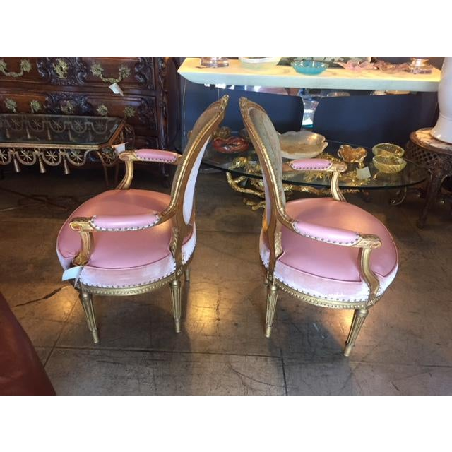 Late 19th Century 19th Century French Carved Gilt & Pink Leather Aubusson Back Arm Chairs - a Pair For Sale - Image 5 of 13