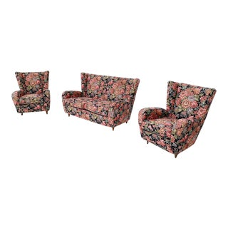 Floral Fabric Living Room Set by Paolo Buffa With Wooden Legs, Italy, 1950s For Sale