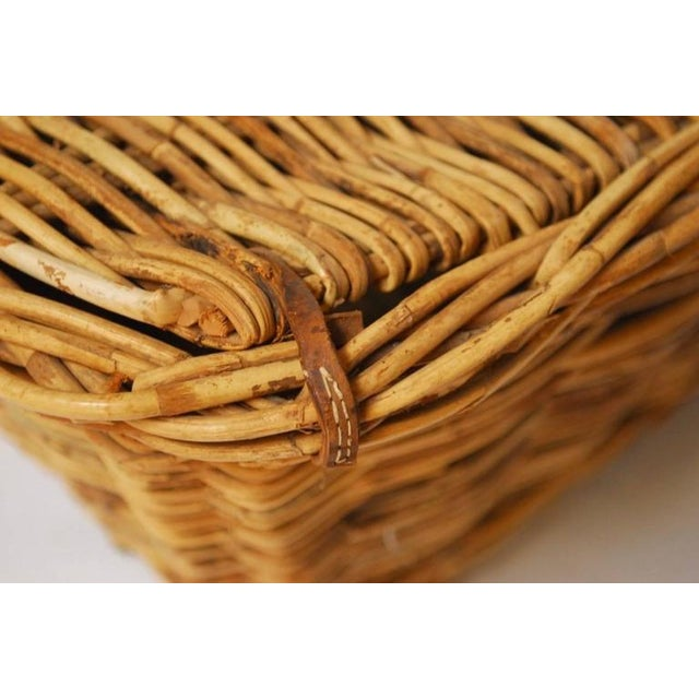 Country French Rattan Lidded Harvest Basket For Sale - Image 3 of 8