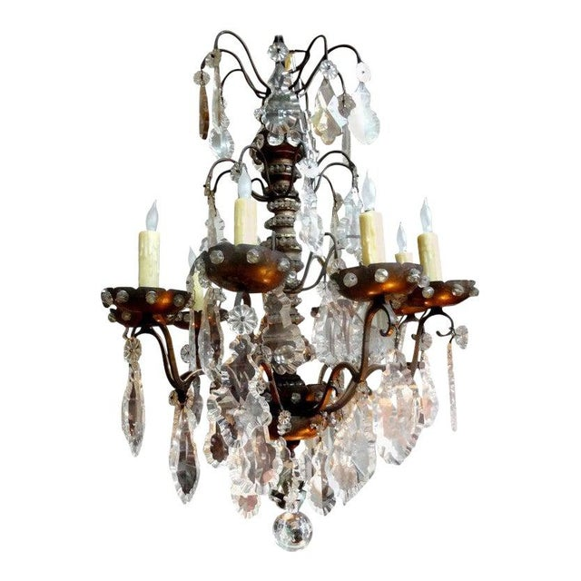 Antique French Maison Baguès Attributed Beaded and Crystal Chandelier For Sale - Image 13 of 13