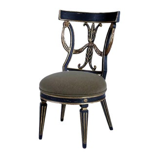 Regency Black & White Gold Dining Chair by Randy Esada Designs for Prospr For Sale
