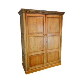 Antique Scottish Pine Large Rustic 2 Door Armoire Cabinet For Sale