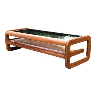 California Design Lou Hodges Wood and Smoked Glass Coffee Table For Sale