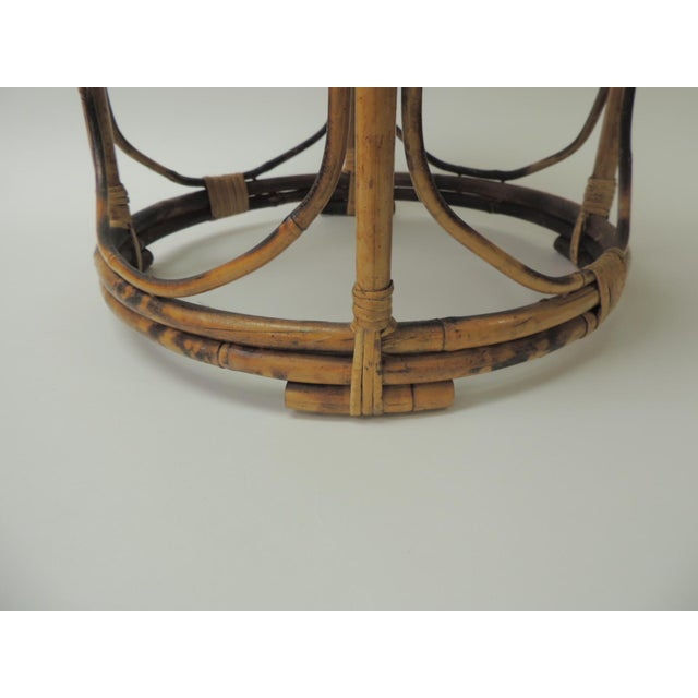 Boho Chic Vintage Bamboo Round Low Side Table For Sale - Image 3 of 5
