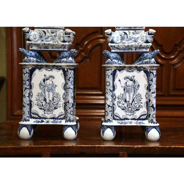 "Ceramic Pair of Painted Blue and White Porcelain Maottahedeh Tulip Pagodas ""Tulipieres"" For Sale - Image 7 of 13"
