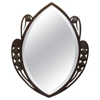 French Wrought Iron Framed Beveled Mirror For Sale