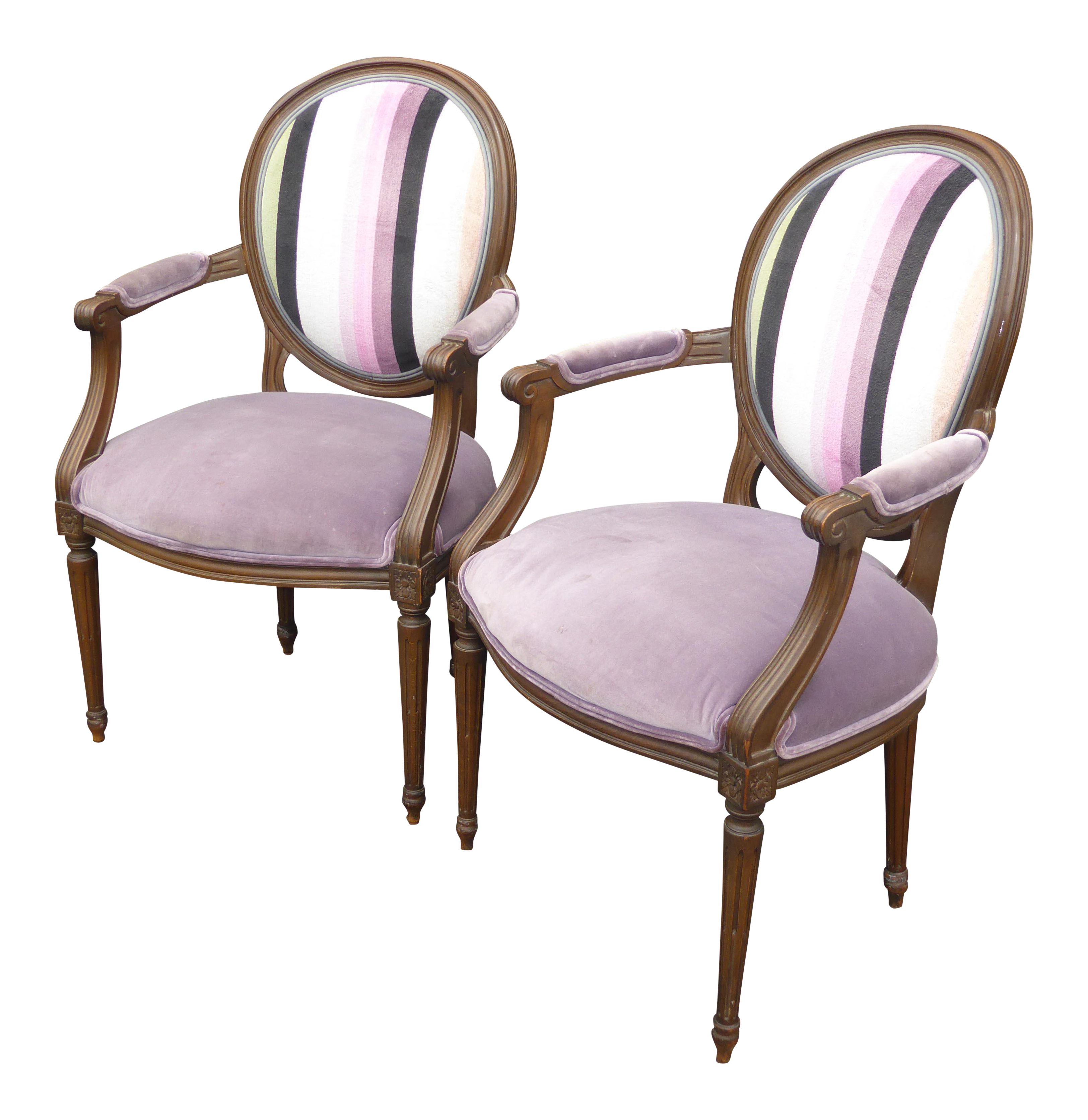 Bon Vintage Baker Furniture French Provincial Purple Striped Arm Chairs   A  Pair For Sale