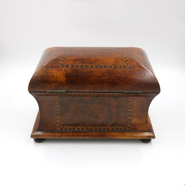 Mid 19th Century Vintage English Fully-Fitted Walnut Tea Caddy For Sale - Image 9 of 10