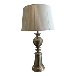 1940s Contemporary Hand Pleated Barrel Shade Table Lamp