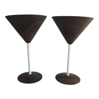 1980s Rasmussen Scandinavian Wood Cocktail Glasses - a Pair For Sale