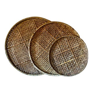 Large Vintage Woven Rattan Wicker Flat Basket Wall Hanging - Set of 3 For Sale