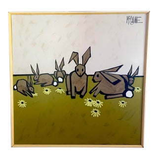 Mid Century Rabbit Painting by Robert McCaine For Sale