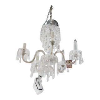 1920s Waterford Style Cut Crystal Five-Arm Chandelier