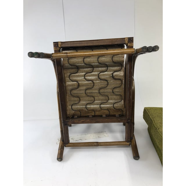 Mid Century Boho Chic Bamboo Lounge Chair With Green Upholstery For Sale - Image 12 of 13