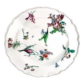 18th Century Antique Chelsea Porcelain Large Dish, Red Anchor Period For Sale