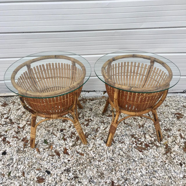 Asian Vintage Rattan Fish Basket Tables -- A Pair For Sale - Image 3 of 6