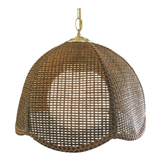 Boho Hanging Rattan Tulip Shape Plug in Lamp on Brass Swag Chain For Sale