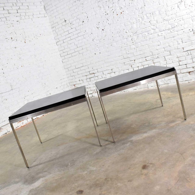 Metal Pair Vintage Large Modern Square End Tables in Stainless Steel With Black Laminate Tops For Sale - Image 7 of 13
