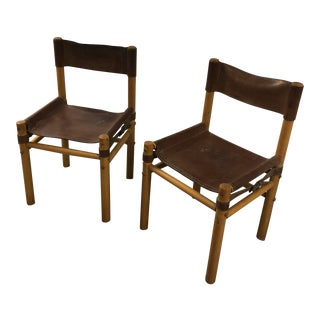 1970s Boho Chic Leather and Wood Side Chairs - a Pair For Sale
