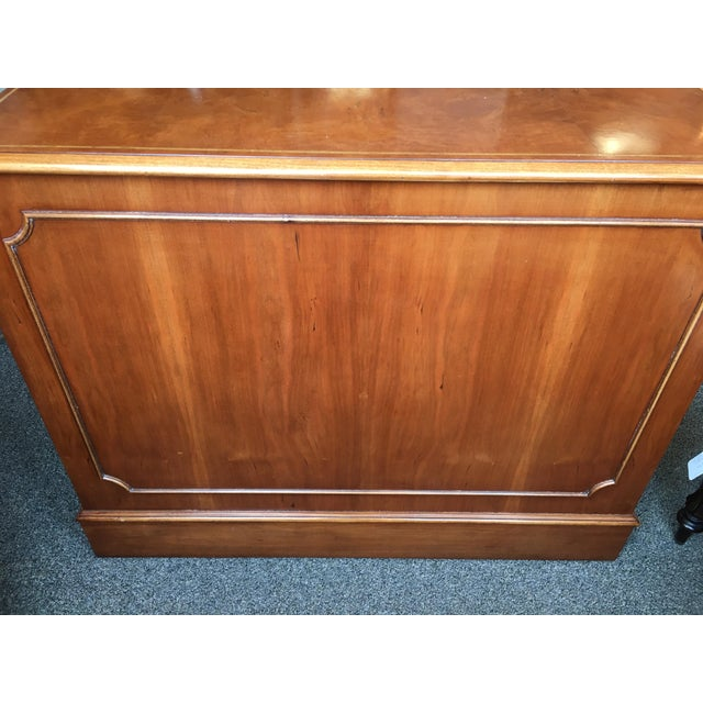 Metal English Custom Made Burled Walnut Double File Cabinet For Sale - Image 7 of 8