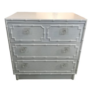 Faux Bamboo Chest of Drawers by Omega With Lucite Pulls For Sale